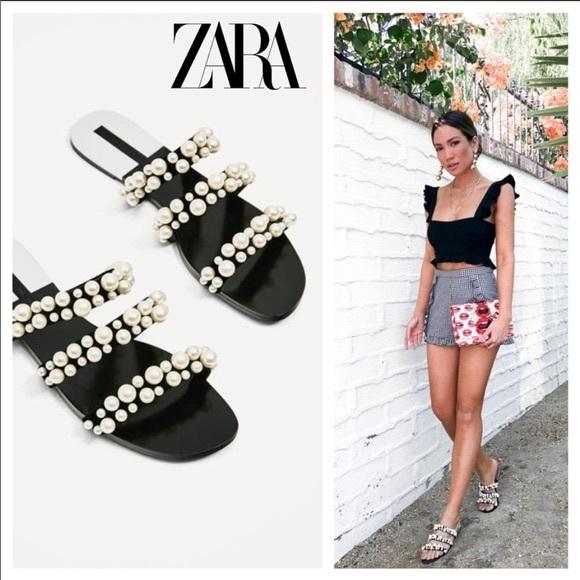 Zara black and pearl 3 strap flat sandal slides